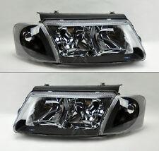 VW Passat 98-00 B5 Euro Black Headlights w/ Corner Lights Pair RH LH