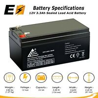 12V 3.3Ah SLA Battery replaces 3.5Ah BP3-12 BP3.6-12, CF12V2.6 CFM12V3