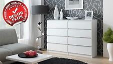 Modern Large 120cm White Chest of 8 Drawers Brand New