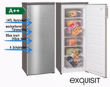 exquisit Gefrierschrank GS 235-4 A++ Inoxlook Tiefkühlschrank 147L / 55cm breit