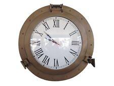 """Antique Brass Decorative Ship Porthole Clock 17""""- Nautical Clock- Antique Clocks"""