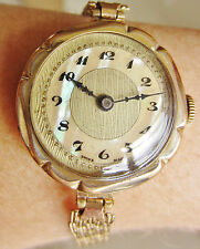 Art Deco Swiss Ladies Gold Filled Pearl Dial Hardi Bracelet Watch Service Wrrty