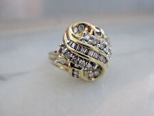 Antique Style Solid 10K Yellow Gold 0.75+Ct Natural Diamonds Engagement Ring