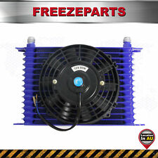 "Universal 15 Row 10AN Engine Transmission Oil Cooler +7"" Electric Fan Kit Blue"