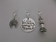 Clip On Charm For Bracelet/Pendant/Bag, Good Luck Horseshoe/Love You/Chess Queen