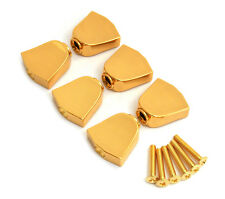 (6) Gold Keystone Buttons for Grover Rotomatic Guitar Tuners TK-7722-002