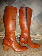 Vintage Womens Acme Sz 8M Reddish Brown Leather Cowboy Boots Stacked Heels