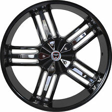 4 GWG Wheels 22 inch Black Chrome SPADE Rims fits CHEVY AVALANCHE 2002 - 2018