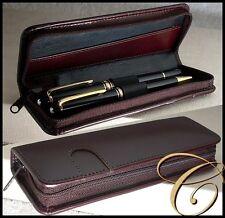 Büffel Leder Etui für 2 Schreibgeräte / Stifte BRAUN Reißverschluss Pen Pouch