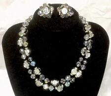 Vintage *Vendome Double Layer AB Clear~Black Glass Bead Necklace W/Clip Ons Set
