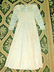 1980's Vintage Tea Length Chantilly Lace Round Neck Wedding Dress S Women's 3 -4