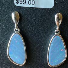 NEW Sterling Silver Opal Earrings Doublet Blue Dangle Stud 925 Light Blue