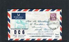 1954 NZ Inaugural Flight DC 6 Christchurch-Sydney Flight Cover, Good Condition