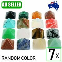 7Pcs Natural Chakra Pyramid Quartz Stone Set Reiki Generator Healing Gemstones