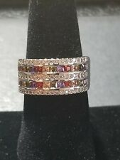 MULTI GEMSTONE 2 ROW WRAP STERLING SILVER RING Ruby, Emerald, Sapphire and More!