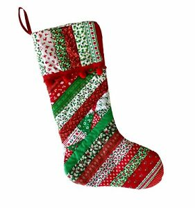 """Handmade Christmas Stocking Patchwork Striped Pom Pom Trim Calico Red Green 19"""""""