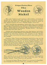Scarce 1940/1950's Wooden Nickels Manufacture Order Brochure, 100 Made For $1.50