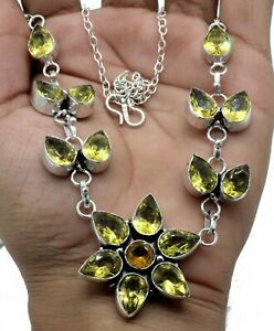 925 Sterling Silver Yellow Citrine Gemstone Handmade Jewelry Necklaces S-17-18