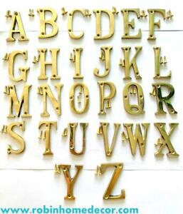 100MM (4Inch)Brass Home 26 Brass Polish Gold Alphabet Letters A to Z With Screws