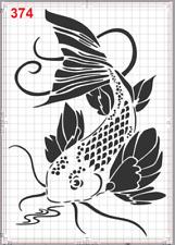 Large Koi Fish Art Stencil MYLAR A4 sheet strong reusable wall art craft deco