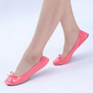 Womens Foldable Portable Travel Ballet Flat Roll Slipper Shoes Dance Party Shoes