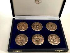 """Bronze Medal Set """"Nobel Laureates 1977"""" 6 Medals / 45 mm / BOX / #265/900 / N136"""