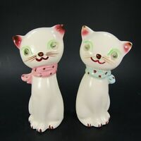Vintage Cat Salt Pepper Shakers Winking Eyes White kitten bows Japan   INV485