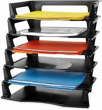 Desk Organizer Letter Tray Desktop Paper Folder Office 6 Tier Plastic Black