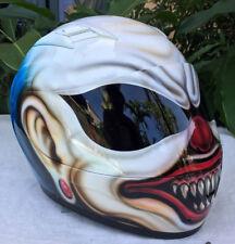 Mad Killer Scary Clown Motorcycle Airbrush Helmet Custom Helmet Blue Hair