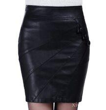 Womens Stretch PU Leather Look Tights Mini-skirt Dress Side Zip Plus Size M-5XL