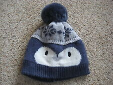 Baby Boys Blue Fleece Lined Bobble Hat Age 3-6 Months