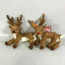 Reindeer Plush Ty Beanie Baby Roxie 2000/01 Red  Black Nose Heart Tags Tush Tags