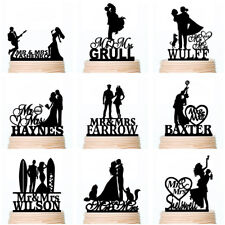 Personalised Wedding Cake Toppers Acrylic Wood Family Dog Cat Party Decoration