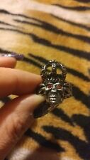 Stainless Steel Biker Skull Ring W/ Red crystal eyes and crown on head size 10