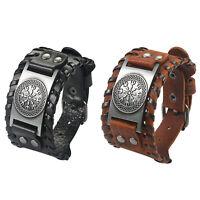 Men's Wide Leather Bracelet Nordic Runes Compass Celtic Pagan Amulet Bangle Cuff