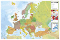 """POLITICAL MAP OF EUROPE (EUROPA) - POSTER (PORTUGUESE LANGUAGE MAP) (36 x 24"""")"""
