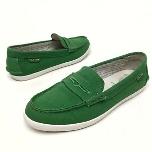 @@ Cole Haan Grand OS Pinch Loafers Green Canvas Shoes Womens Sz 6.5 B Flats EUC