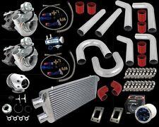 UNIVERSAL DIY CUSTOM T3/T4 TWIN TURBO CHARGER RED PIPING KIT 800HP V6 V8 V10