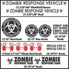 Zombie Outbreak Response Team 17 Piece Black Vehicle Decal Set Kit Car Truck New