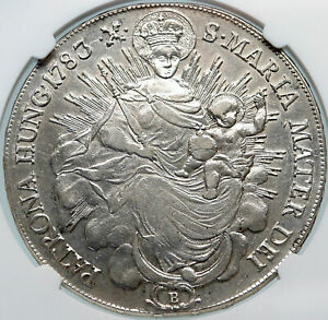1783 HUNGARY King Joseph II MADONNA & JESUS Antique Silver Taler Coin NGC i85325