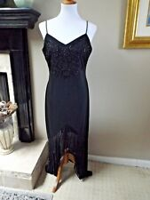 Vintage Stenay Black Beaded Spaghetti Strap Asymmetrical Hem Stretch Dress Sz 14