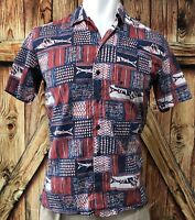 Columbia PFG Men's Medium Shirt Button Front Short Sleeve Vent Red Blue Cotton