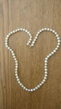 Vintage estate 5 mm knotted cultured pearl necklace  10k gold clasp 17 1/4''