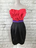 LIPSY Pink Black Strapless Silky Feel Mini Party Occasion Dress Size 8