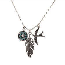 Lux Accessories Turquoise Tribal Metal Leaf Bird Dove Charm Pendant Necklace