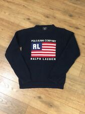 Vtg 90s Ralph Lauren POLO Jeans USA Flag Knit Sweater Logo Unisex Small