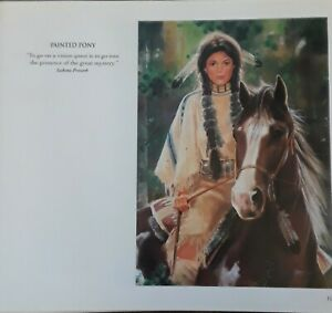 "MAIJA ART PRINT ""PAINTED PONY"".NATIVE AMERICAN WOMAN,HORSE-WESTERN ART,  8x7"