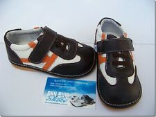 Boys Leather Shoes Brown/Orange for Toddler Kids Children for age 1 - 5 years