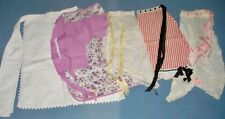 5 Antique & Vintage Aprons, 1900's-1950's.C alico, Silk Ribbons, Feedsack