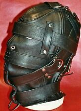 Genuine Leather Fetish RolePlay Gimp Mask Hood Escapology Gothic Gay Straps gift